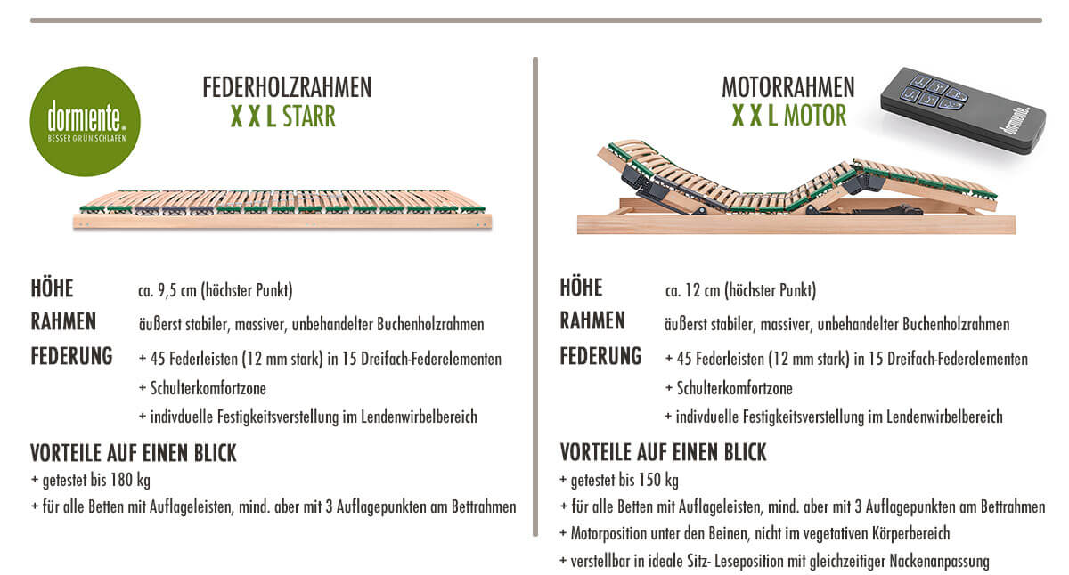 dormiente-XXL-Federholzrahmen-Starr-und-Motor-Merkmale