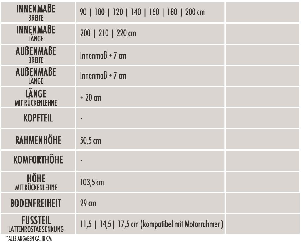 dormiente-Viva-Massivholzbett-Tabelle-Technische-Daten