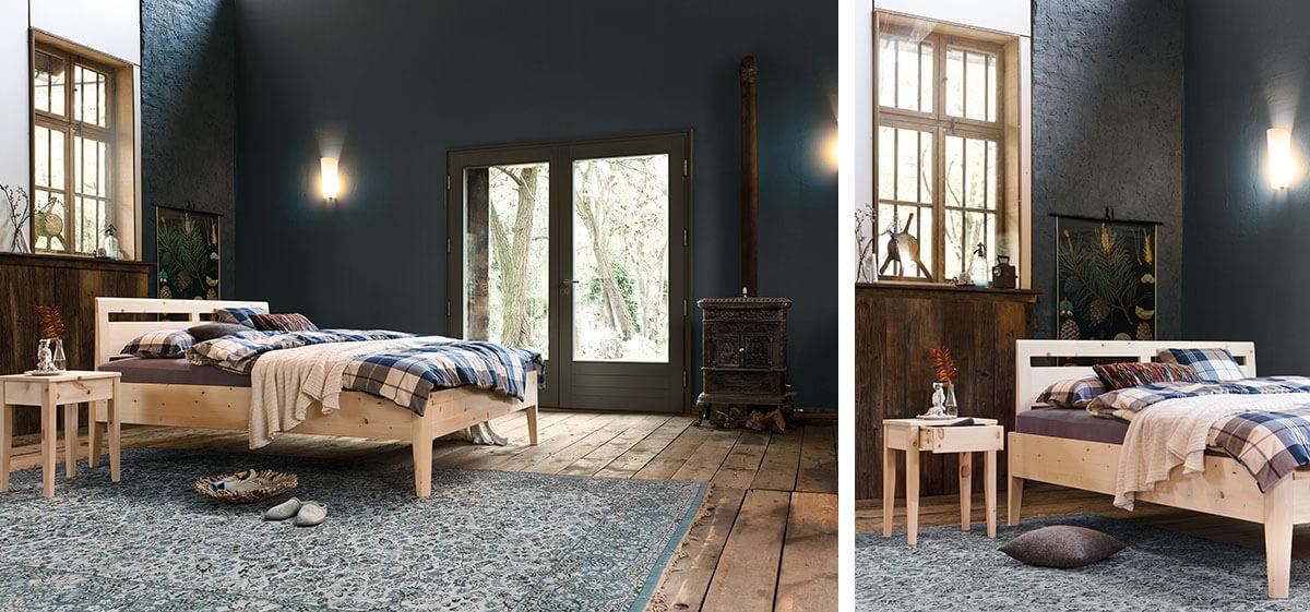 dormiente-Kalmera-Nachtkonsole-und-Bett-Zirbe-Ambiente